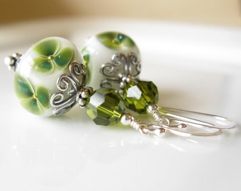 Luck be a lady Earrings Boro Lampwork  and sterling silver christmas clover