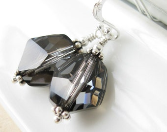 In the Shadows Earrings  swarovski crystal and sterling silver