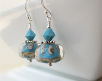 Turquoise and ivory  Boro lampwork earrings OOAK