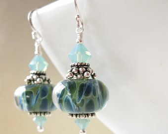 Enchanted waters Earrings Boro lampwork and sterling silver