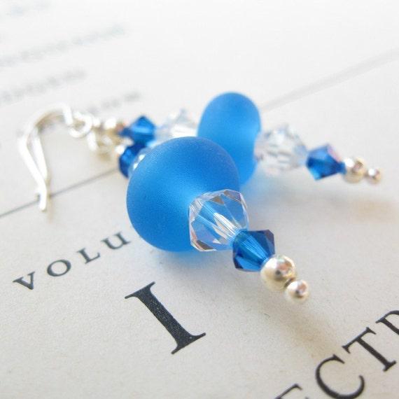 SALE Blue ice lampwork earrings