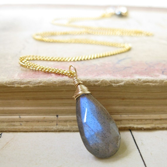 Labradorite necklace In gold with dark pearls wire wrapped  pendant