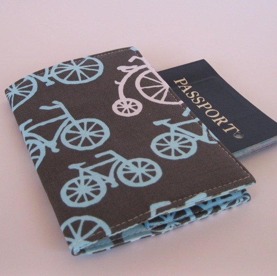 Passport Holder Cover Case - Spa Blue and White Bicycles - Bikes on Slate Gray