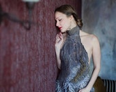 Eco fashion dresses  Nuno felted dress in mauve gray and bronze gold from natural silk, wool and alpaca. Luxurious  OOAK