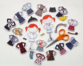 Clara Paper Doll, Dress-up Clothes  - The Deluxe Set - Paper Toy Set - Children's Dress Up Doll