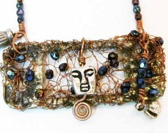 Wire Wrapped Pendant Necklace Beads Face  Charms Handmade Jewelry Upcycled Repurposed Recycled #141