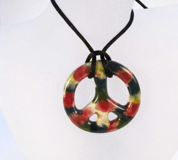 Peace Sign Pendant Tie Dye Pendant Necklace Ceramic Handmade Jewelry Tye Dye