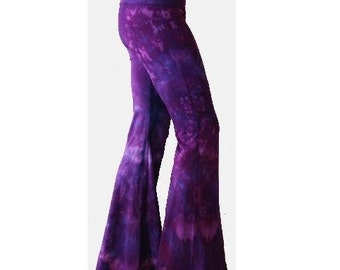 Purple Tie Dyed Yoga Flares rave pants Choose Size