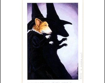 "Evie Anderson Corgi Art SIGNED, MATTED PRINT ""Wicked Welshie of the West""  Pembroke Welsh Witch"