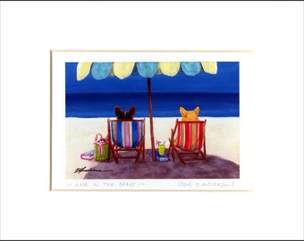 """Evie Anderson Welsh Corgi Art SIGNED PRINT """"Made In the Shade""""  (signed, matted) Pembroke"""