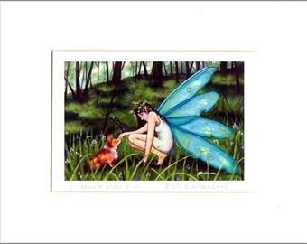 "Evie Anderson Welsh Corgi Art SIGNED PRINT ""Fairy & Corgi II""  (quality, signed, matted) Pembroke"