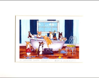 "Evie Anderson Pembroke Welsh Corgi Art SIGNED PRINT ""Scrubba Dubba Doglets""  (signed, matted)"