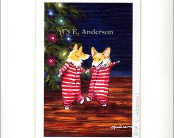 "Evie Anderson Welsh Corgi Art SIGNED PRINT ""Christmas Jig""  (signed, matted) Pembroke Pups"