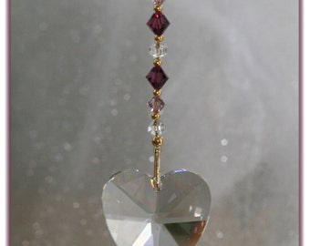 Beautiful Large 40mm Crystal Heart Suncatcher with Handmade Hanger/Swarovski Amethyst/Clear Crystal Beads, Unique Gifts,Valentine's Day Gift