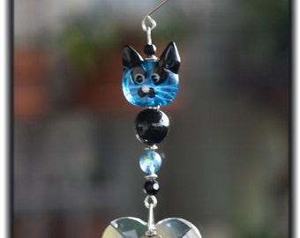 "Blue Face Kitty Cat Suncatcher w/Large 40mm Austrian Heart Crystal and ""Love My Cat"" Charm, Unique Gifts, Cat Lover Gifts, Whimsical Gifts"
