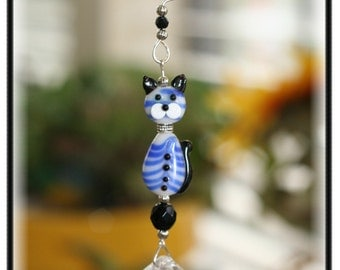 Absolutely Adorable Blue Striped Kitty Suncatcher with 20mm Austrian Crystal Ball Prism, Unique Gifts, Car Mirror Ornament