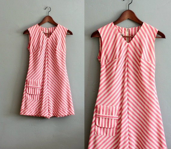 40's S/M Pink Striped Sleeveless ROMPER