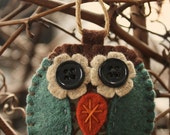 felt owl ornament  blue and brown fabric and felt decoration