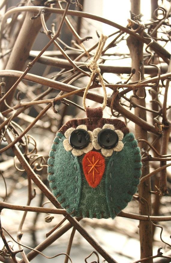 owl felt and fabric ornament aqua blue