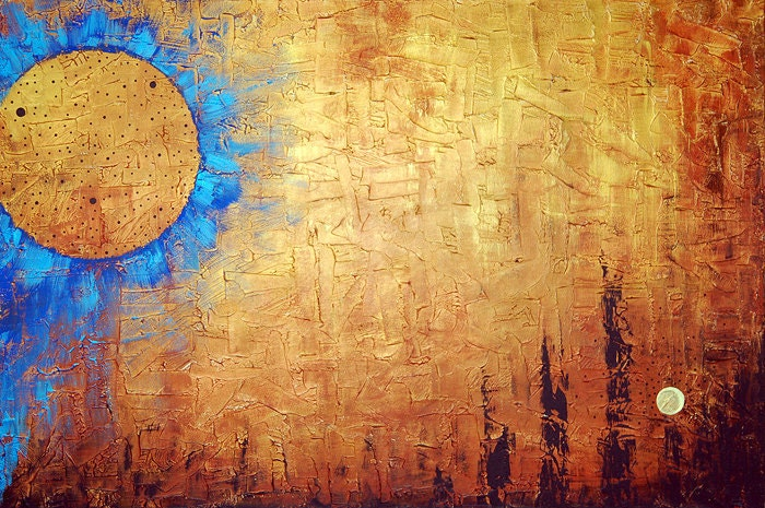 Tone And Texture In Art : Free shipping s h gold painting blue art texture sun landscape