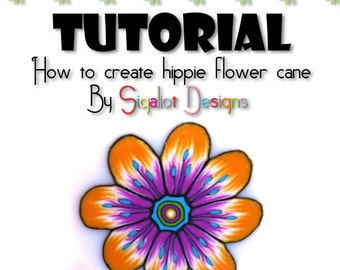 Polymer Clay Tuturial- Flower cane Tutorial- How to make Hippie flower polymer clay cane Step by step - PDF instant download