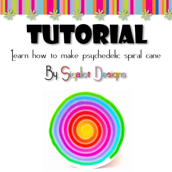 Tutorial - How to make Psychedelic spiral polymer clay cane - Step by step PDF