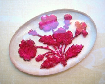 Vintage glass crystal large floral pink reverse painted intaglio etched carved cab - 40 x 26mm