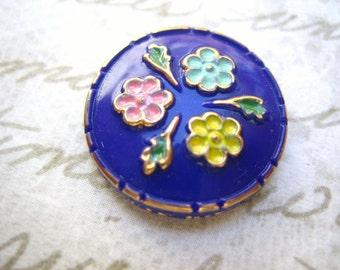 Rare vintage glass blue lapis cobalt hand enameled flower cameo cab button 18mm (1)