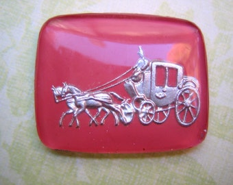 Rare vintage glass cameo or cab romantic Cinderella stagecoach coach pink silver reverse etched painted (1)
