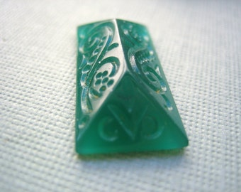 Vintage glass cab deco translucent jade green pressed glass cabochon scroll design 1920s Czech