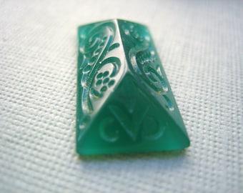 Vintage glass cab deco translucent jade green pressed glass cabochon scroll design 1920s Czech