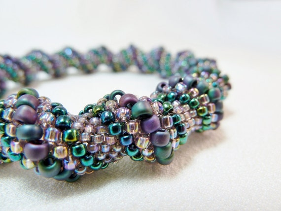 ON SALE - Amethyst Frost Beadwoven Cellini Spiral Bangle Bracelet - The Twisted Collection