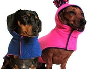 Eco Dog Coat - Recycled Pink and Navy Blue Fleece - Small