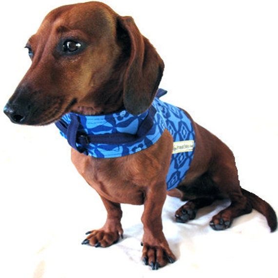 Eco Dog Harness - Renewable Blue Geo Cotton - Small
