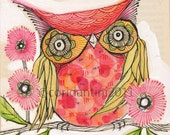 red owl painting - watercolor - print - limited edition and archival print, 8 x 8 inches by cori dantini