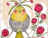 bird on a branch watercolor painting - 8 x 8 inch print - archival - limited edition - by cori dantini
