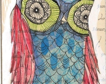 blue owl -drawing over watercolor -perdita - 5 x 10 inches - limited edition and Archival by cori dantini