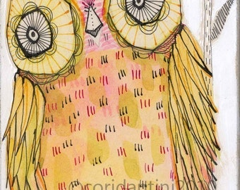 pink owl - illustration - 5 x 10 inches - limited edition and archival watercolor by cori dantini