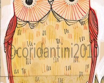 orange owl - illustration - 5 x 10 inches - limited edition and archival watercolor by cori dantini