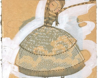 mixed media artwork, limited edition archival print of a girl reflecting on life, beige, brown