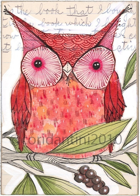 Cori Dantini, red owl watercolor painting - folk  - illustration - drawing - limited edition and archival print