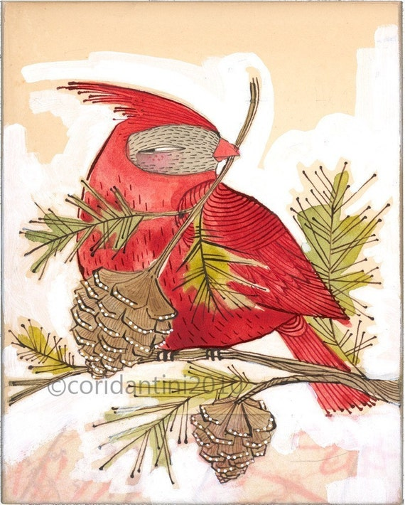 whimsical red watercolor painting of a cardinal - ink - drawing - animal art - archival - limited edition print...JOY... holiday art, 5x7