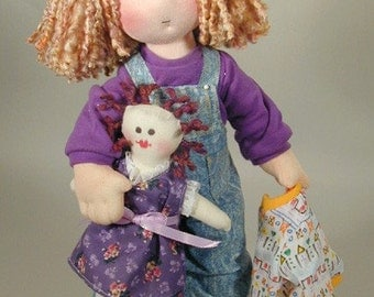 DIY doll pattern - 14 inch cloth rag doll sewing - Tasha PDF pattern - make your own doll