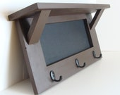 Chalkboard Shelf with Hooks Wall Storage for Home Office Kitchen Cottage Espresso Brown