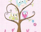 Owl Nursery Art,  - The Bunch 8x10 Print