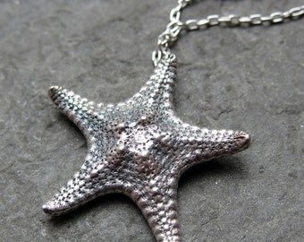 Sterling silver starfish necklace silver, starfish pendant, ocean necklace beach jewelry, eco friendly gift for her, 18 inch, ready to ship