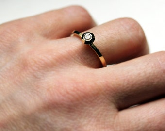 White topaz engagement ring - modern - recycled 14k yellow gold - solitaire ring - birthstone stack ring- faceted