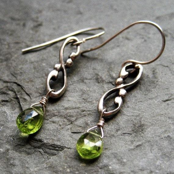 Peridot drop earrings, artisan earrings, infinity earrings, august birthstone, recycled silver dangle earrings, ready to ship, Wrought Swirl