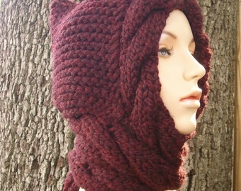 Knit Hat Womens Hat - Cable Scarf Hat in Oxblood Red Wine Burgundy Merlot Hooded Scarf Knit Hat Red Chunky Scarf Red Hat Womens Accessories