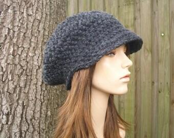 Charcoal Grey Newsboy Hat Grey Womens Hat Grey Hat Grey Beanie - Crochet Newsboy Hat Crochet Hat - Womens Accessories